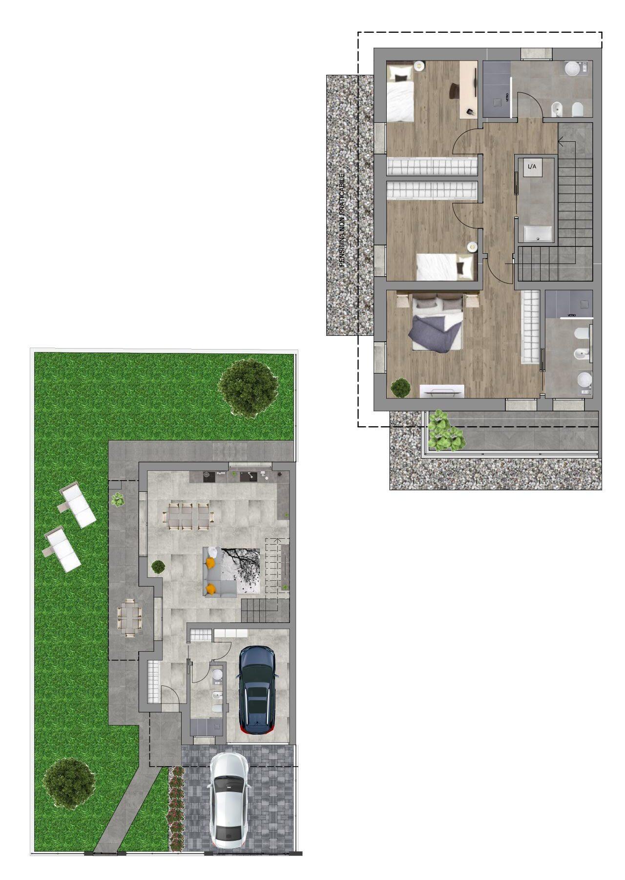 Planimetria nuova costruzione Borgoricco Padova porzione ovest, Fam Real Estate