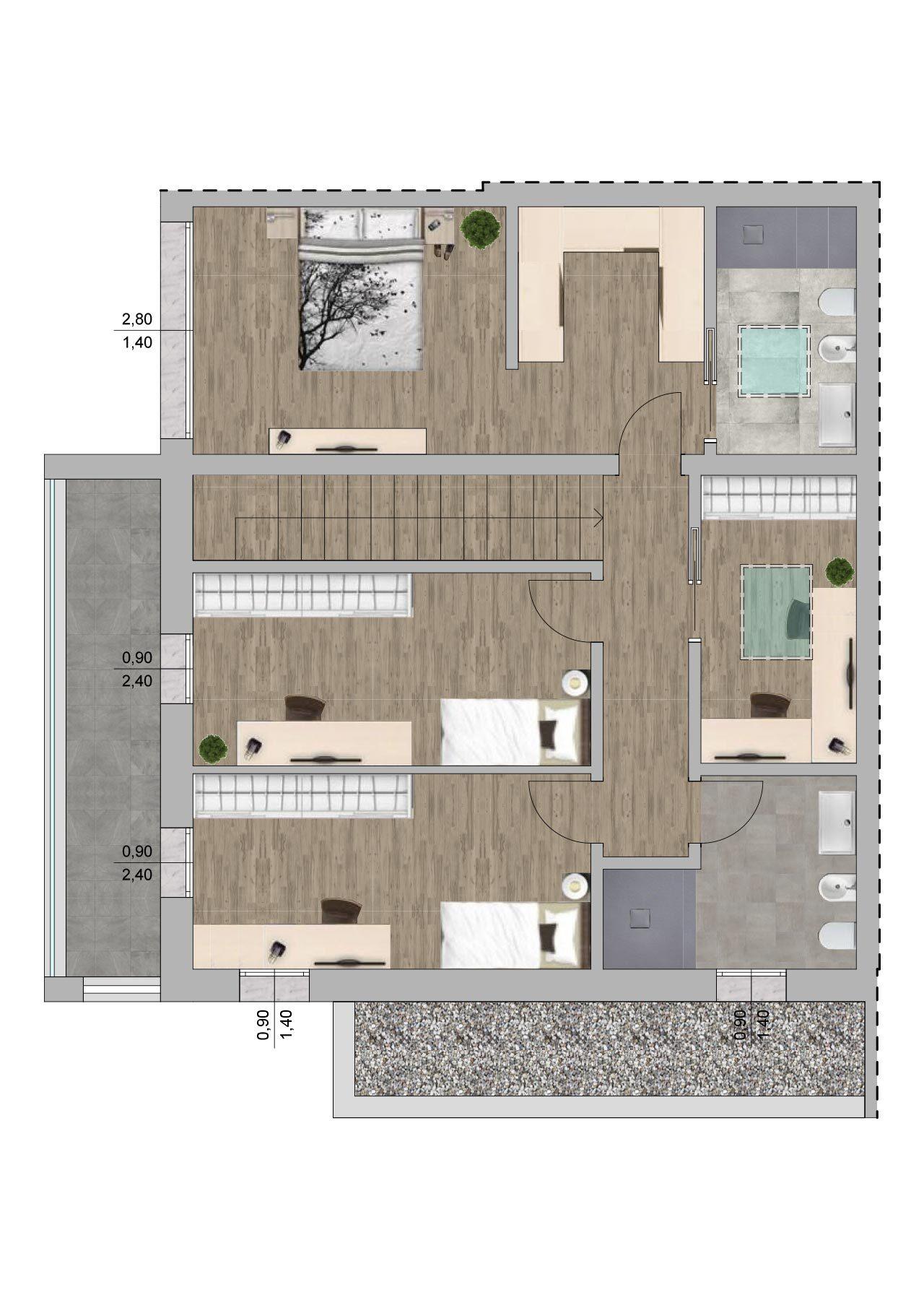Planimetria nuova costruzione Massanzago Padova porzione 1 piano primo, Fam Real Estate