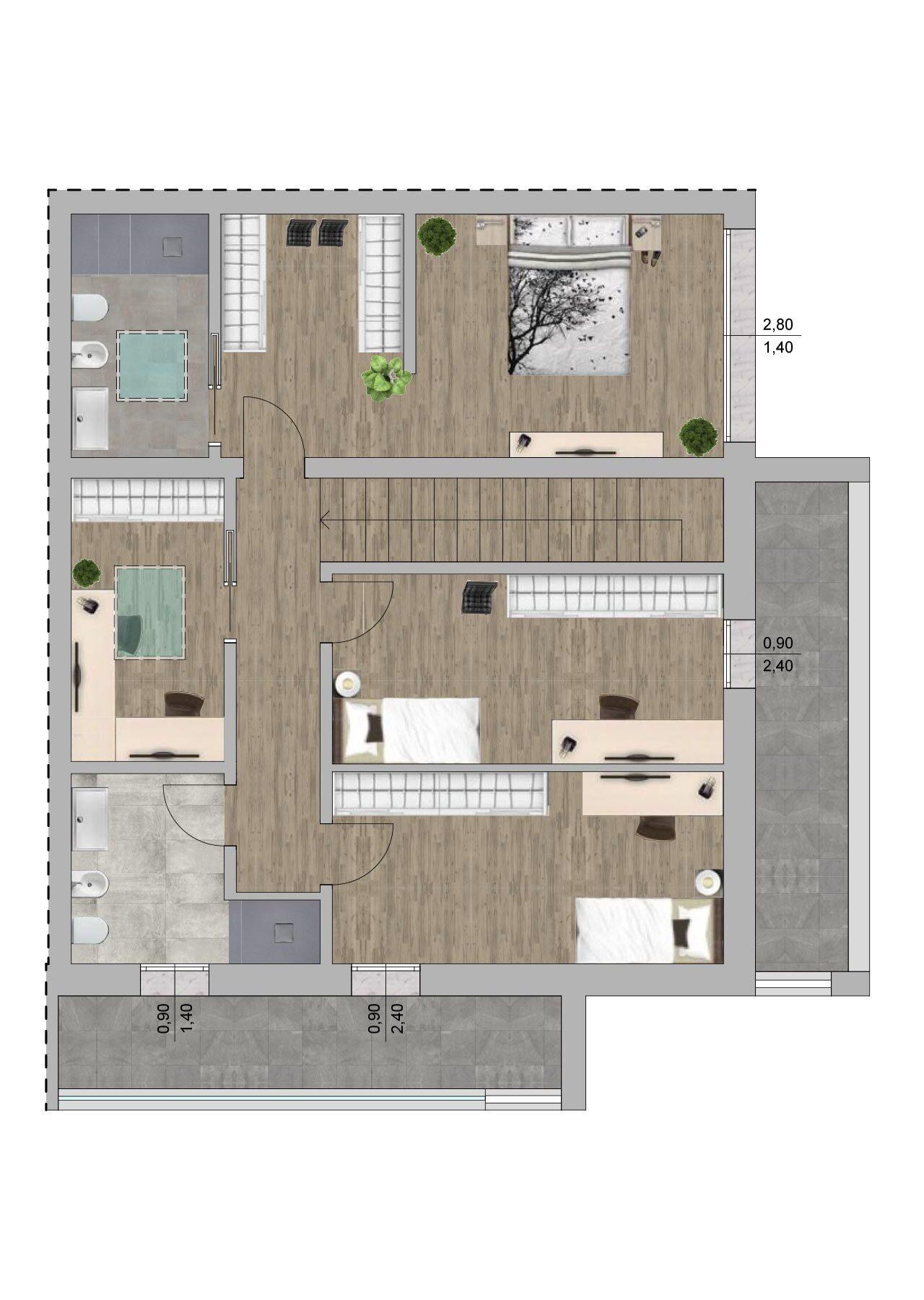 Planimetria nuova costruzione Massanzago Padova porzione 2 piano primo, Fam Real Estate