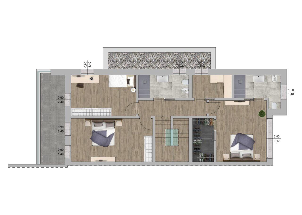 Planimetria nuova costruzione Massanzago Padova porzione 3 piano primo, Fam Real Estate