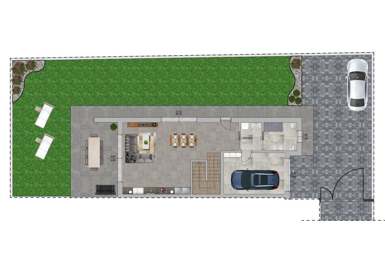 Planimetria nuova costruzione Massanzago Padova porzione 3 piano terra, Fam Real Estate